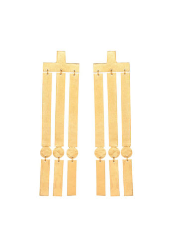 Rectangular hanging earrings in brass