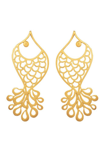 Gold finish fish earrings