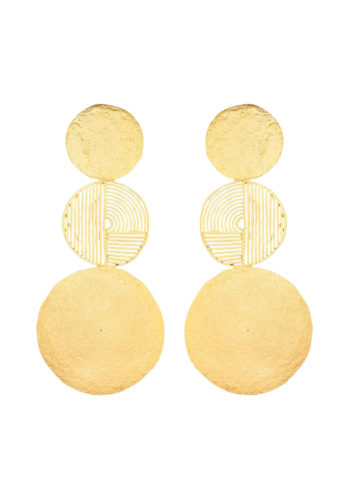 geometric gyrate earrings in brass