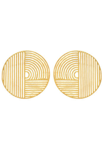 geometric circle earrings in brass