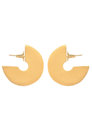 geometric disc earrings in brass
