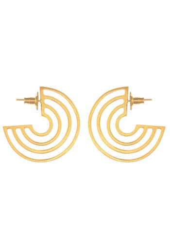 cutwork disc earrings in brass