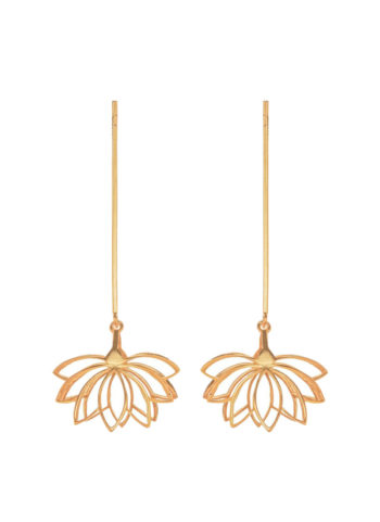 gold inverted lotus earrings