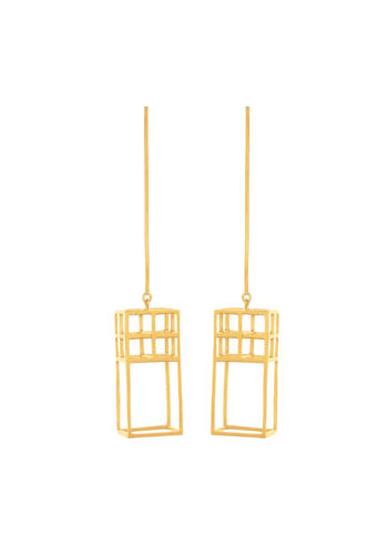 gold plated grid earrings