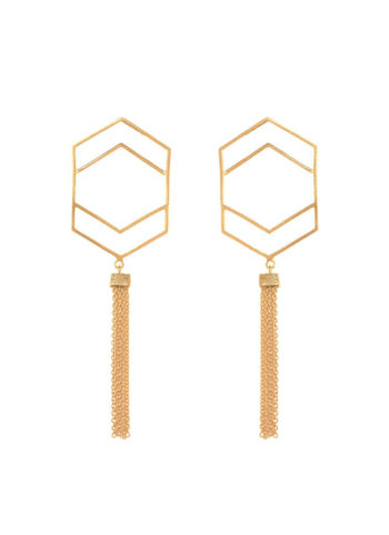 Gold plated hexatassel earrings
