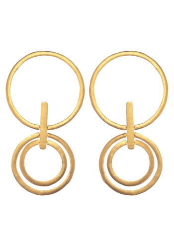triple circle earrings in brass