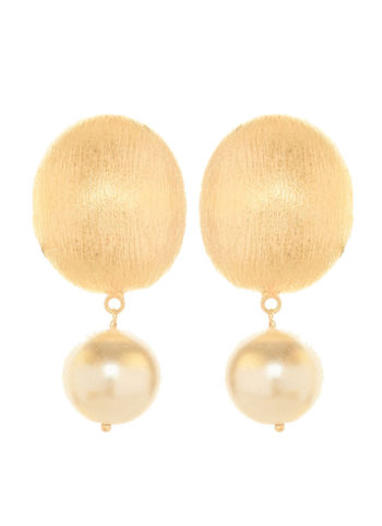 round pearl earrings in brass