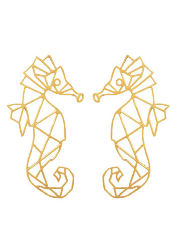DE LA MER SEAHORSE EARRINGS - geometric Seahorse set in brass metal