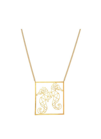 DE LA MER SEAHORSE NECKLACE - geometric necklace in brass meta