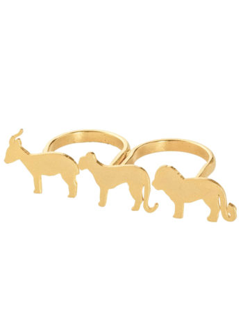 ISABIS RING - three finger ring animal silhouettes