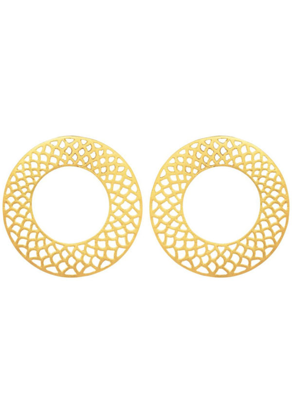 SLYTHERING CIRCLES - circular earrings set in brass