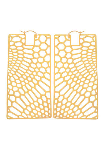PEAU DE SERPENT (BIG) - Rectangle earrings set in brass