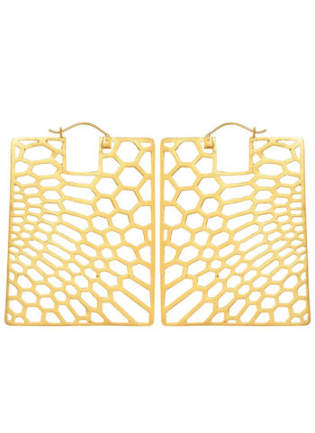 PEAU DE SERPENT SMALL - Rectangle earrings in brass metal