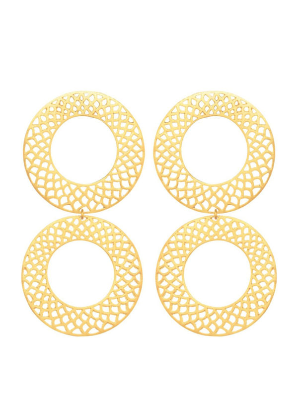 DOUBLE SLYTHERING CIRCLES - Earrings set in brass metal