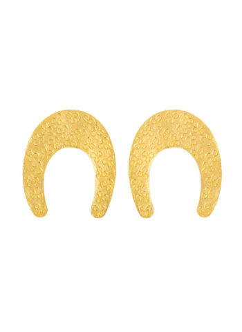 MELUHA REGAL EARRINGS - patterned gold plated stunners