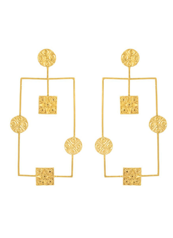 GEOMETRIC HARAPPAN SEAL EARRINGS - Brass With Gold Plating