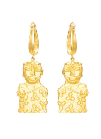 PRIEST KING EARRINGS - Earrings in brass with gold plating