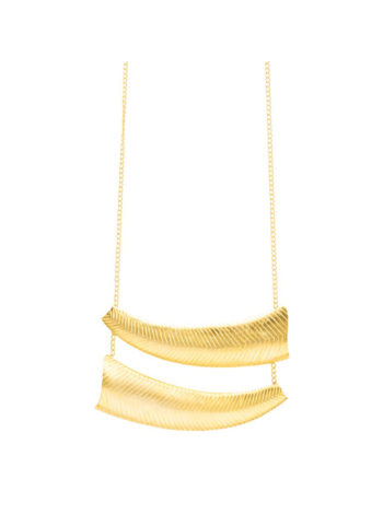 CHISELED HORN NECKLACE - handcrafted gold plated stunners