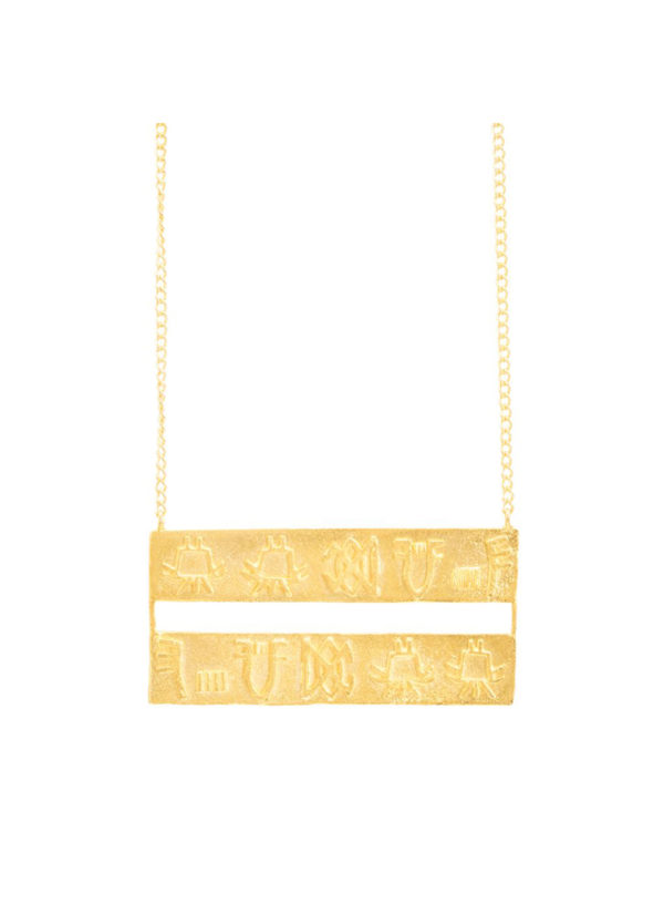 Undeciphered Necklace - Handcrafted in brass with gold plating
