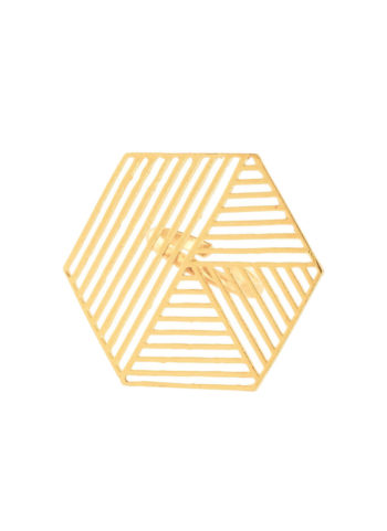 Gold geometric hexagon ring