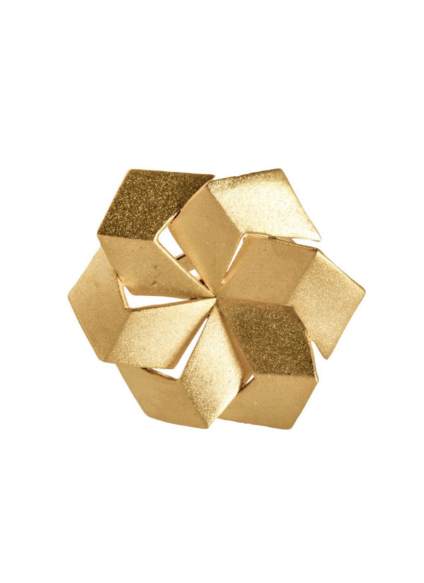 3D hexagon ring in brass