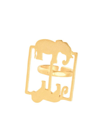 KWAME RING - rectangular ring with animal silhouettes
